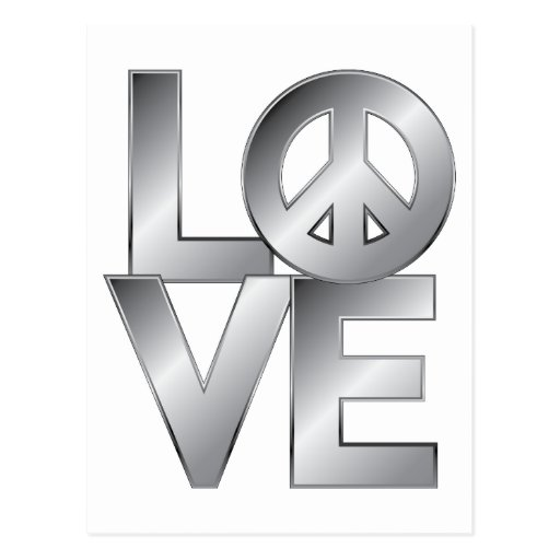 Silver LOVE=Peace Postcard