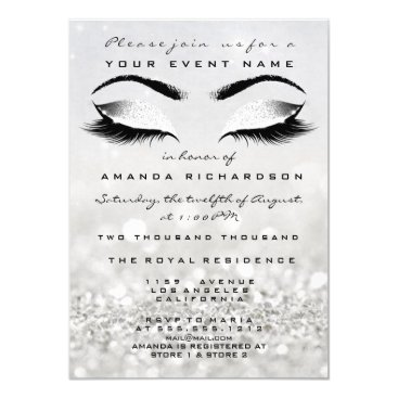 Bride Themed Silver Makeup White Glitter 16th Bridal Shower Card