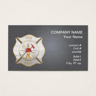 Silver maltese  firefighting cross business card