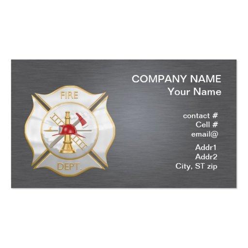 Silver maltese  firefighting cross business cards