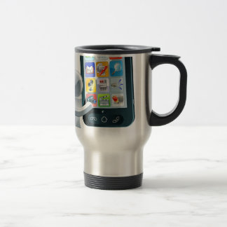 Silver man and giant cell phone coffee mugs