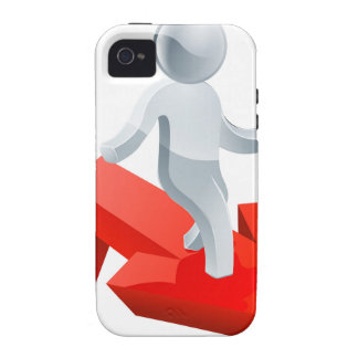 Silver man on red arrow iPhone 4 cases