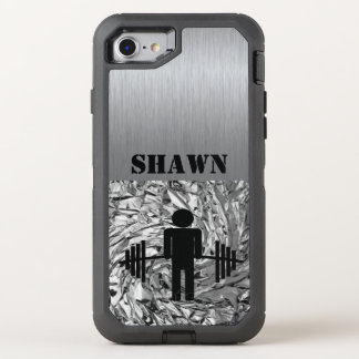 Silver Man With Barbell Gym Phone OtterBox Defender iPhone 8/7 Case