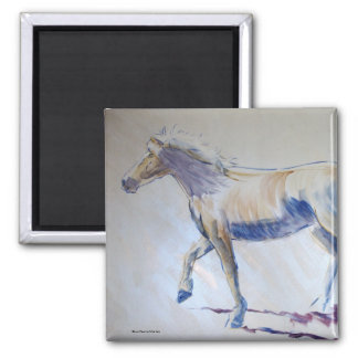 Silver Mane Horse Walking Acrylic Painting 2 Inch Square Magnet