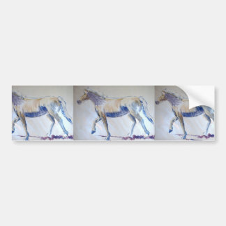 Silver Mane Horse Walking Acrylic Painting Car Bumper Sticker
