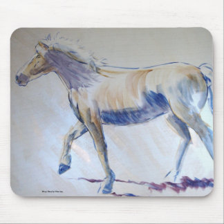 Silver Mane Horse Walking Acrylic Painting Mouse Pad