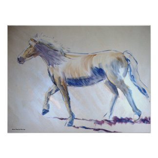 Silver Mane Horse Walking Acrylic Painting Poster