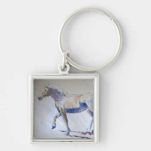 Silver Mane Horse Walking Acrylic Painting Silver-Colored Square Keychain