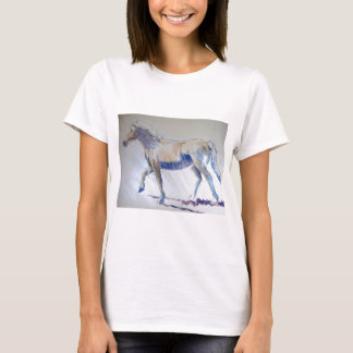 Silver Mane Horse Walking Acrylic Painting T-Shirt