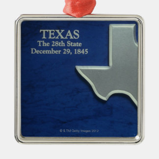 Silver Map of Texas Metal Ornament
