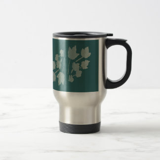 Silver Maple Leaves Bas Relief on Turquoise Travel Mug