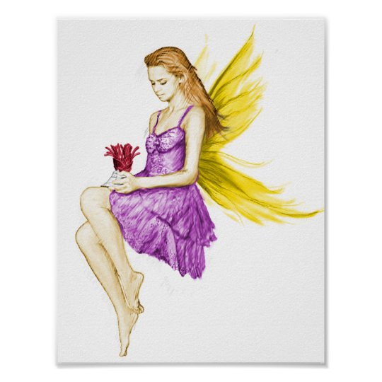 Silver Maple Tree Fairy Holding Flower Poster