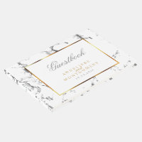 Silver Marble, Gold and White Design Guest Book