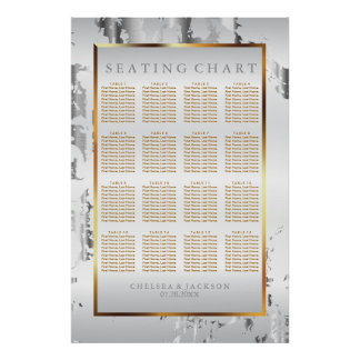 Silver Marble, Gold and White Satin -Seating Chart
