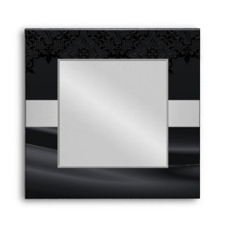 Silver Masquerade Black Jeweled Wedding Envelope