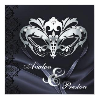 Silver Masquerade Black Jeweled Wedding Invitation