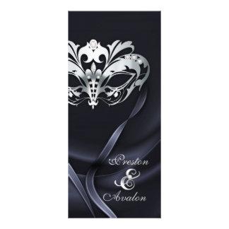 Silver Masquerade Black Jeweled Wedding Program