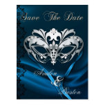 Silver Masquerade Blue Jewel Save The Date Postcards