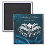 Silver Masquerade Blue Save The Date Magnet
