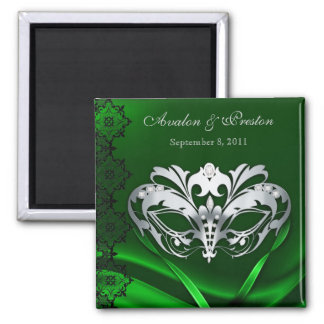 Silver Masquerade Green Save The Date Magnet