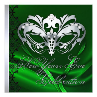 Silver Masquerade Mask Green New Years Invitation