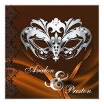 Silver Masquerade Orange Jeweled Wedding Personalized Invites