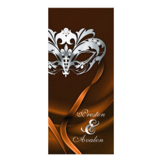 Silver Masquerade Orange Jeweled Wedding Program