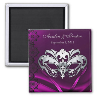 Silver Masquerade Pink Save The Date Magnet