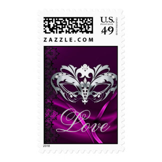 Silver Masquerade Pink Valentines Love Postage