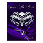 Silver Masquerade Purple Jewel Save The Date Post Card