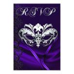 Silver Masquerade Purple Jeweled RSVP Invitation