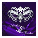 Silver Masquerade Purple Jeweled Wedding Custom Invites