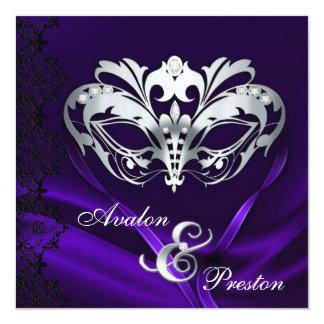 Silver Masquerade Purple Jeweled Wedding 5.25x5.25 Square Paper Invitation Card