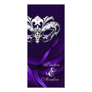 Silver Masquerade Purple Jeweled Wedding Program
