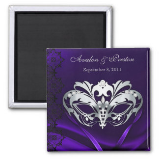 Silver Masquerade Purple Save The Date Magnet