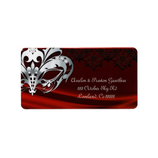 Silver Masquerade Red Jewel Wedding Address Label