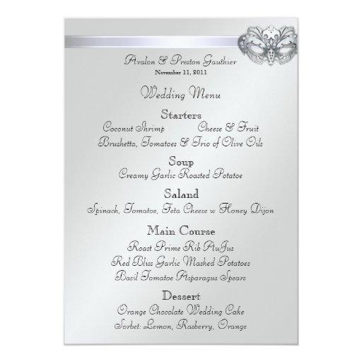 Silver Masquerade Red Jewel Wedding Menu Custom Invitations