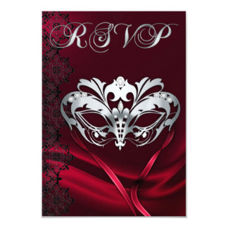 Silver Masquerade Red Jeweled RSVP Invitation