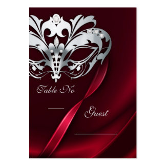Silver Masquerade Red Jeweled Table PlaceCard Large Business Cards (Pack Of 100)