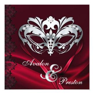 """Silver Masquerade Red Jeweled Wedding Invitation 5.25"""" Square Invitation Card"""
