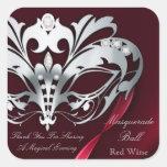 Silver Masquerade Red Party Sticker