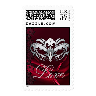 Silver Masquerade Red Valentines Love Postage