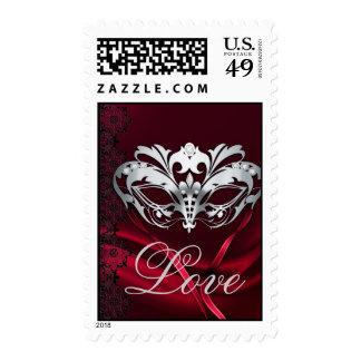 Silver Masquerade Red Valentines Love Postage