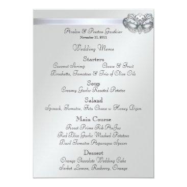 Halloween Themed Silver Masquerade Teal Jewel Wedding Menu Card