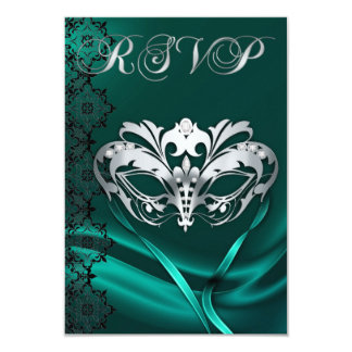 Silver Masquerade Teal Jeweled RSVP Invitation