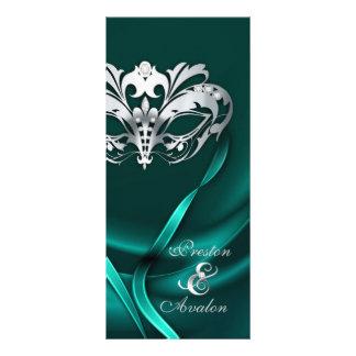 Silver Masquerade Teal Jeweled Wedding Program