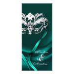 Silver Masquerade Teal Jeweled Wedding Program Rack Cards
