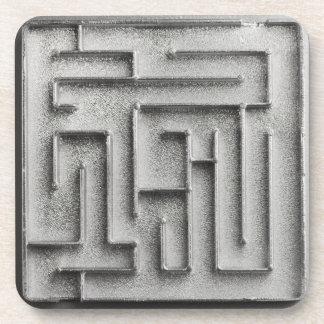 Silver maze drink coaster