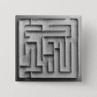 Silver maze pinback button