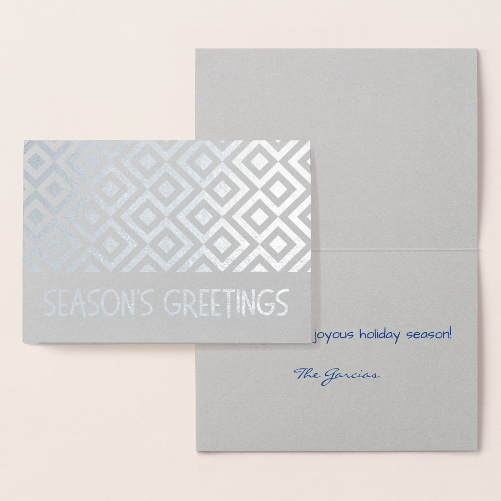 Silver Meander Pattern Season's Greetings Foil Card